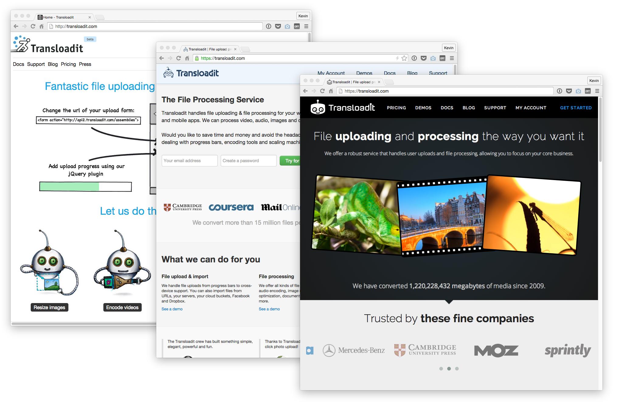 Transloadit website in 2009, 2012, 2015